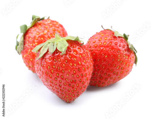 Deurstickers Dessert Ripe strawberries on white background