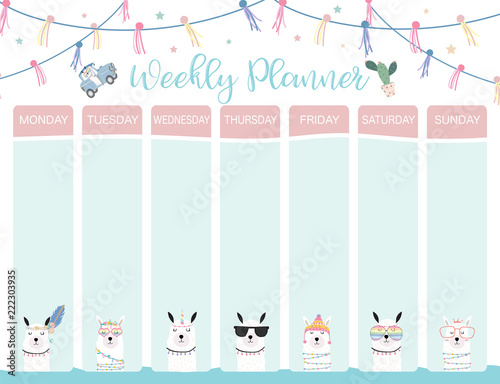 Obraz Pastel weekly calendar planner with llama,alpaca,cactus,glasses and car - fototapety do salonu