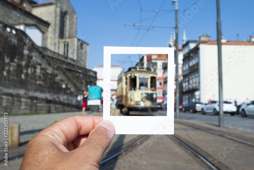 Keuken foto achterwand Europa typical tramcar in the old town of Porto, Portugal.