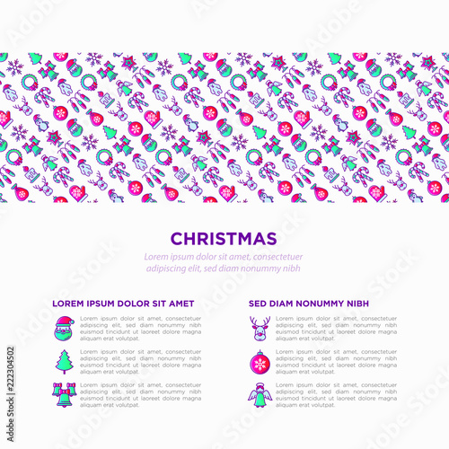 Christmas Concept With Thin Line Icons Santa Claus Snowflake