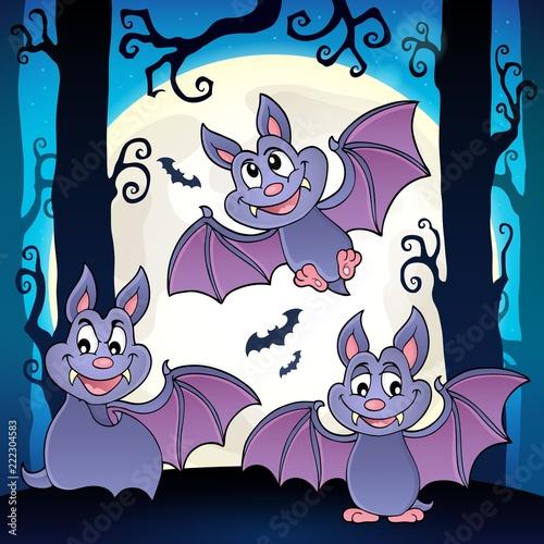 Spoed Foto op Canvas Voor kinderen Bats theme image 6