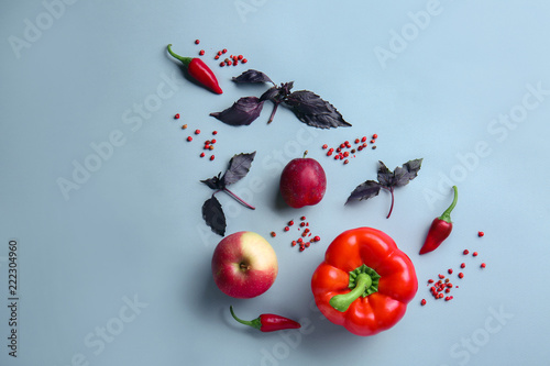 Poster Dans la glace Flat lay composition with vegetables and fruits on color background