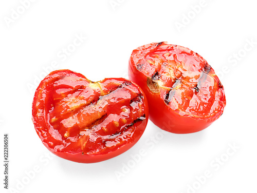 Fototapeta Tasty grilled tomato on white background obraz