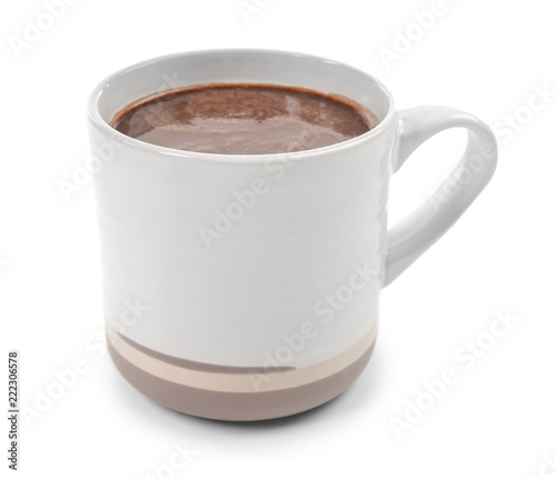 Cup of hot chocolate on white background