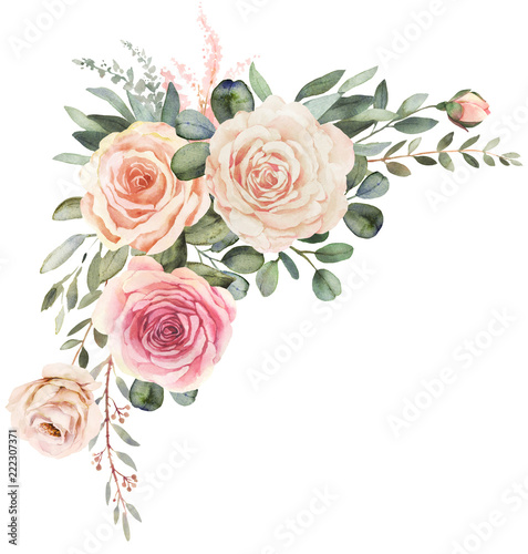 Watercolor floral bouquet composition with roses and eucalyptus Wall mural
