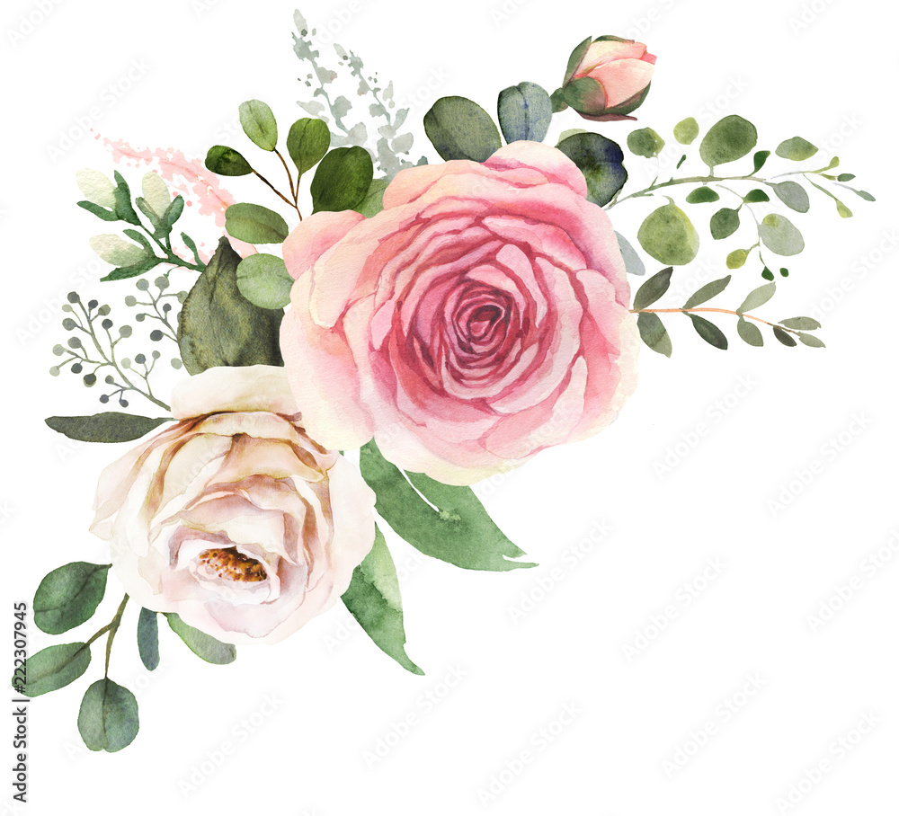 Fototapety, obrazy: Watercolor floral bouquet composition with roses and eucalyptus