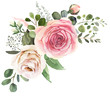 canvas print picture - Watercolor floral bouquet composition with roses and eucalyptus