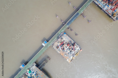 Foto op Plexiglas Milkshake aerial view of bridge construction site