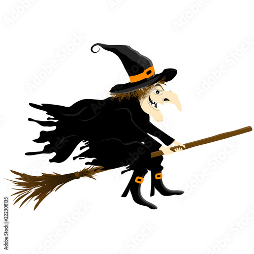 Halloween witch isolated Fotobehang