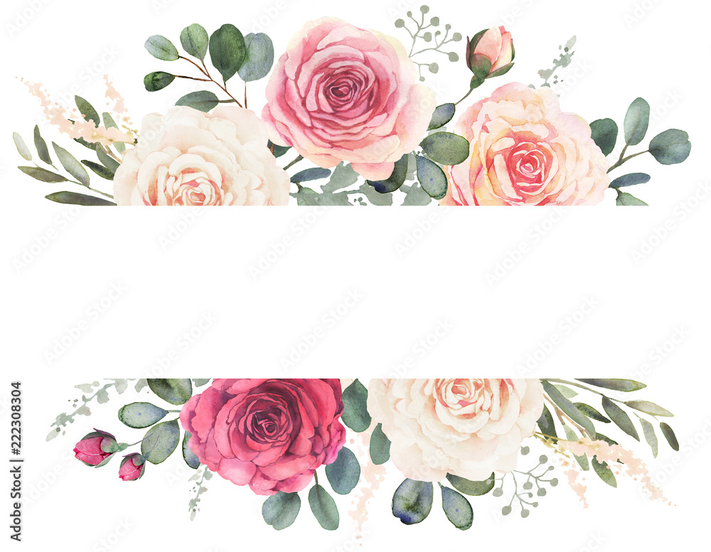 Fototapety, obrazy: Watercolor floral frame composition with roses and eucalyptus