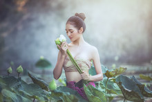 Asian Woman Harvest Lotus Flow...