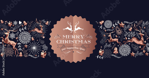 Cuadros en Lienzo Merry Christmas copper luxury deer label card