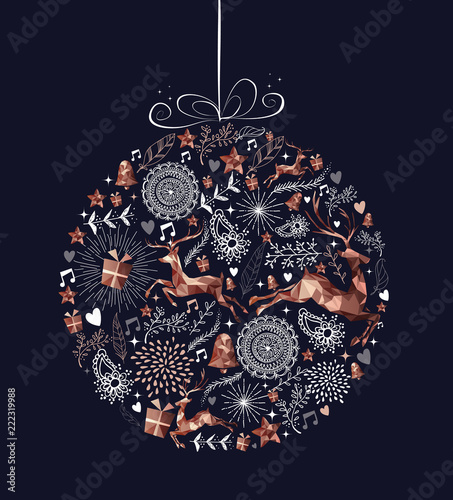 Christmas bauble ball with copper low poly deer