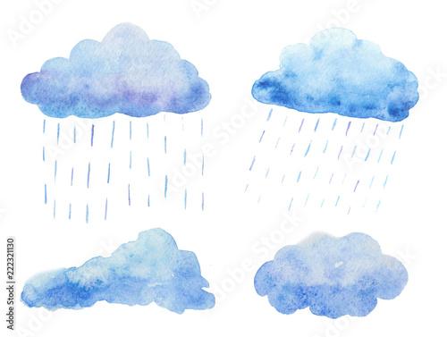 Fototapeta Watercolor set with rain clouds.