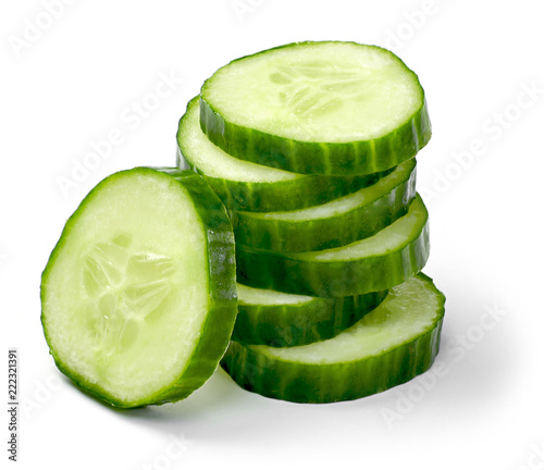 Fresh cucumber slices, isolated on white background Wallpaper Mural