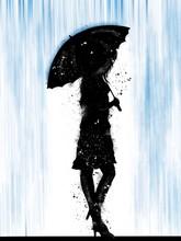 Ragazza Sotto La Pioggia Con L'ombrello