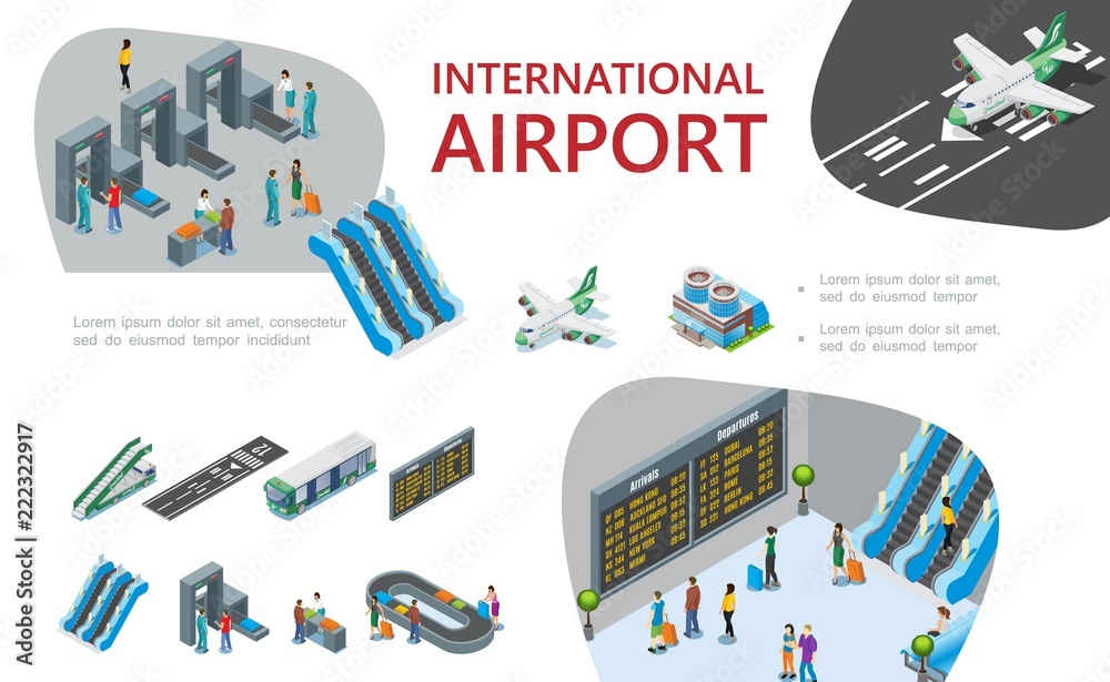 Fototapeta Isometric Airport Composition