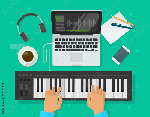 Fotografía Musician workspace studio vector illustration, flat person playing midi piano ke
