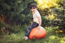 Boy Sitting On The Big Pumpkin