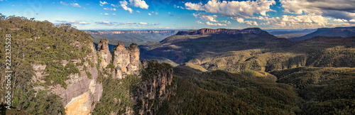 Panoramiv view of the three sisters and blue mountain canyon taken in the Blue Mountains, NSW, Australia on 8 October 2013