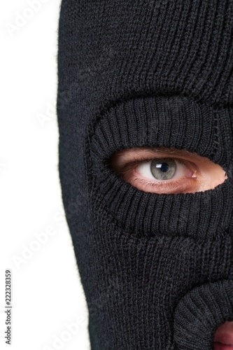 Thief criminal ski mask closeup close-up balaclava burglar Wallpaper Mural