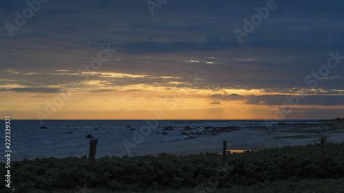 Foto op Aluminium Nachtblauw beautiful swedish sunset at the ocean