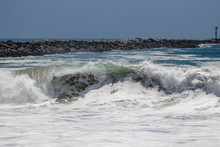 Large Wave Crashing At The Wedge In Newport Beach
