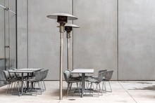 Modern Restaurant Terrace Against Concrete Wall In New York