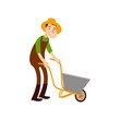 Farmer on a wheelbarrow carries land. Flat design farmers set illustration vector.