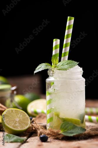Spoed Foto op Canvas Cocktail Caipirinha cocktail on wooden table