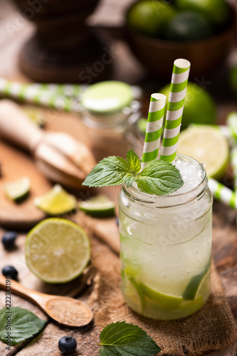 Caipirinha cocktail on wooden table