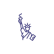 Statue Of Liberty Line Icon. L...