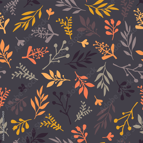 Fotografie, Obraz  Seamless vector pattern with abstract leaves orange, gold, purple, gray on a dark background