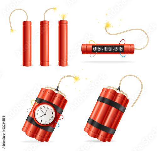 Realistic Detailed 3d Red Detonate Dynamite Bomb Set. Vector Tablou Canvas