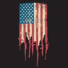 Distressed United States Of America USA Flag Grunge Guns