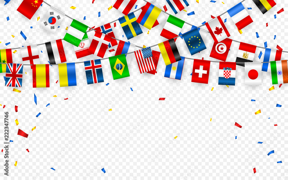 Fototapety, obrazy: Colorful flags garland of different countries of the europe and world with confetti. Festive garlands of the international pennant. Bunting wreaths. Vector banner for celebration party, conference