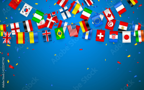 Fotomural Colorful flags garland of different countries of the europe and world with confetti