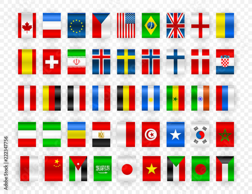 Cuadros en Lienzo Set of Flags of world sovereign states