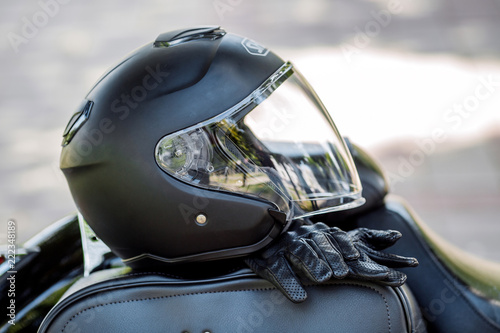 helmet and motorcycle