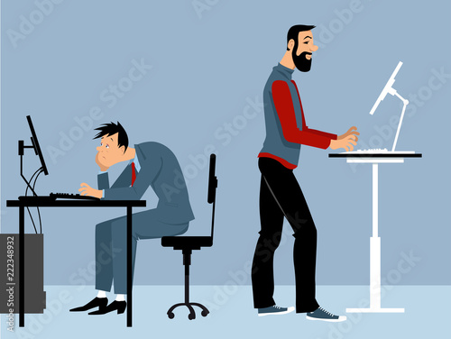 Fototapeta Two man working at the office on the computers, one of them using a standing desk, PS 8 vector illustration obraz