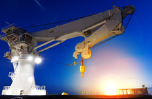 Offshore Heavy Lift Crane At Sea By Night Knuckle Jib