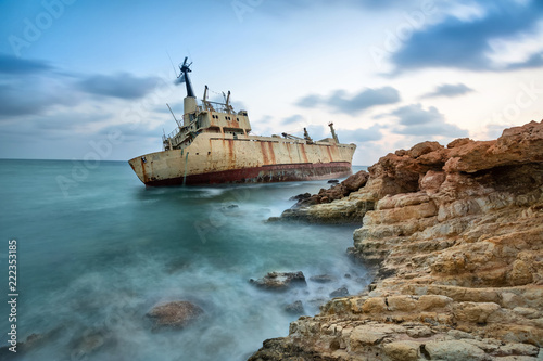 Abandoned ship that was shipwrecked off near the coast of Cyprus