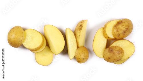 Fresh organic potato slices isolated on white background, top view