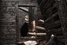 Inside Of The Fallen Down Burned Wooden House