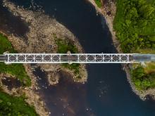 Steel Railroad Bridge Over River In Northern Finland
