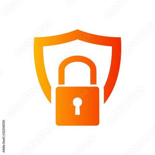 Cuadros en Lienzo  Logotipo candado sobre escudo en color naranja