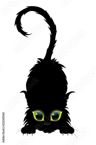 Fotografija Black cat with green eyes posing, cat on a halloween, vector character