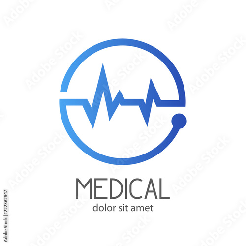 Foto  Logotipo MEDICAL con ritmo cardiaco en circulo en azul