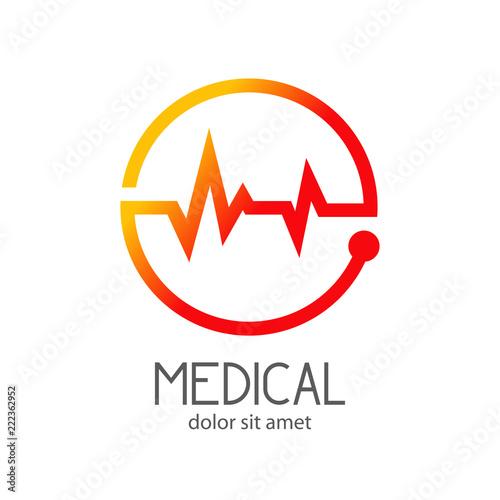 Foto  Logotipo MEDICAL con ritmo cardiaco en circulo en naranja
