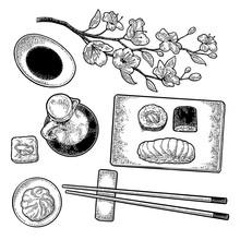 Set Sushi. Vintage Black Vector Engraving